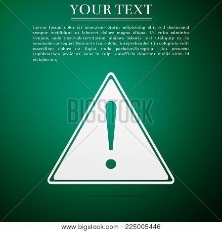 Exclamation mark in triangle icon isolated on green background. Hazard warning sign, careful, attention, danger warning important information sign. Flat design. Vector Illustration