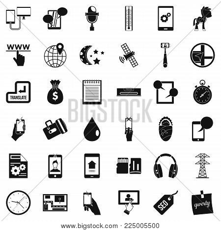 Mobile usage icons set. Simple set of 36 mobile usage vector icons for web isolated on white background