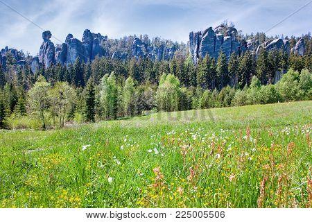 limestone Adrspach rock town - National park of Adrspach - Teplice rocks, East Bohemia, czech republic