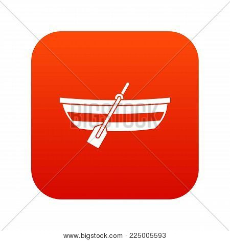 Fishing boat icon digital red for any design isolated on white vector illustration