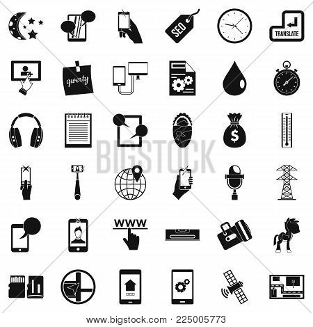 Mobile soft icons set. Simple set of 36 mobile soft vector icons for web isolated on white background