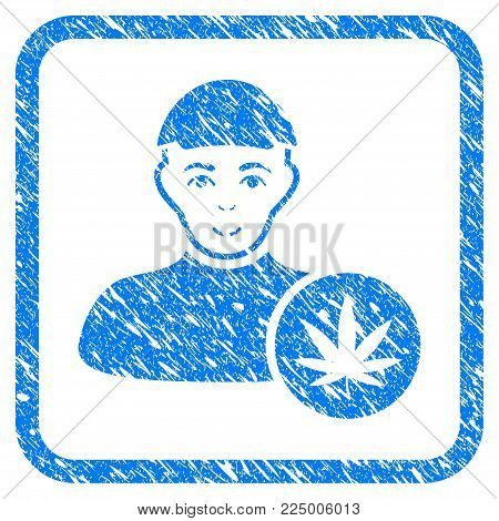 Cannabis Dealer rubber seal watermark. Icon vector symbol with grunge design and unclean texture inside rounded square frame. Scratched blue stamp imitation. Man face has joy feeling.