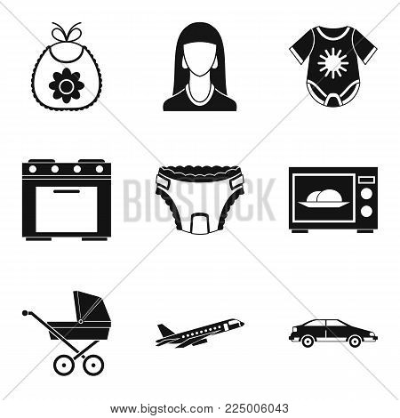 Motherhood icons set. Simple set of 9 motherhood vector icons for web isolated on white background