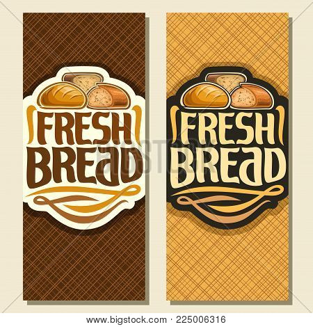 Vector vertical banners for Bread, whole french wheat baguette, sliced half of cereal loaf and homemade cut rye bread, original brush typeface for title text fresh bread, layouts flyer for bakery shop