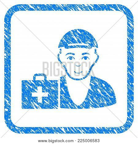 First-Aid Man rubber stamp imitation. Icon vector symbol with scratched design and dirty texture in rounded square. Scratched blue emblem. Person face has enjoy emotions.