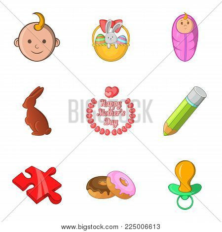 Parental responsibility icons set. Cartoon set of 9 parental responsibility vector icons for web isolated on white background