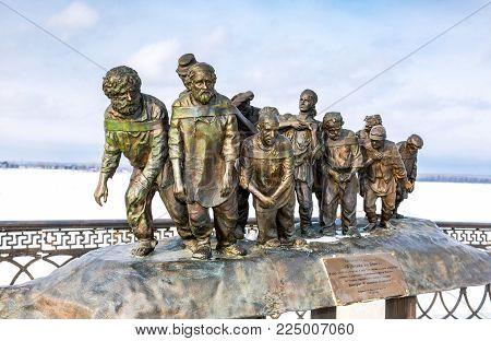 Samara, Russia - February 03, 2018: Bronze monument of a painting of Ilya Repin's