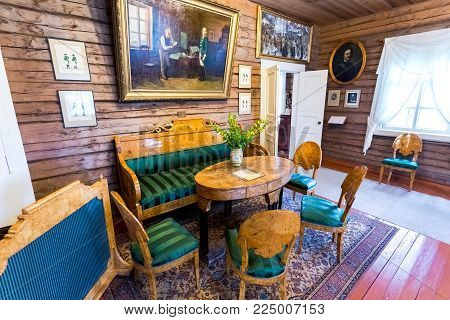 Konchanskoe-Suvorovskoe, Russia - July 22, 2017: Interior of the museum Alexander Suvorov in the museum-homestead. Generalissimo A. Suvorov is a great russian warlord