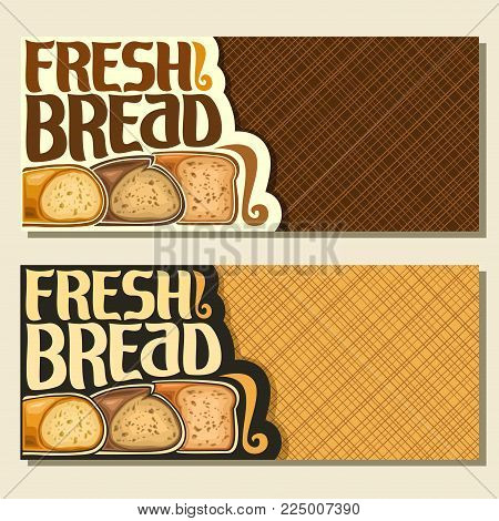 Vector banners for Bread with copy space, cut french wheat baguette, sliced half of rye loaf and homemade cereal bread, original brush typeface for title text fresh bread, layout flyer for bakery shop