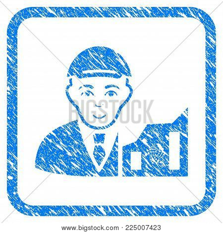 Iota Trader rubber stamp imitation. Icon vector symbol with scratched design and unclean texture inside rounded rectangle. Scratched blue emblem. Guy face has smiling emotion.