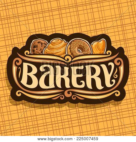 Vector Logo For Bakery, Original Brush Typeface For Word Bakery, Homemade Cookie With Chips, Swedish