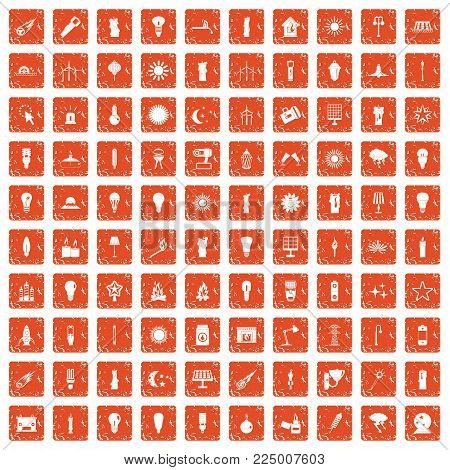 100 light source icons set in grunge style orange color isolated on white background vector illustration