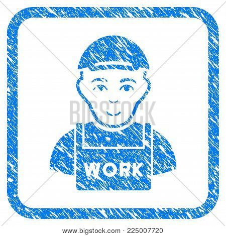 Jobless rubber stamp imitation. Icon vector symbol with unclean design and corrosion texture inside rounded square. Scratched blue sticker. Male face has enjoy feeling.