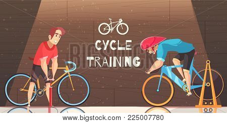 Road circuit cycle racing indoor training with stationary bike trial and sportsman pumping tire vector cartoon illustration