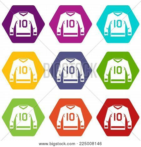 Hockey jersey icon set many color hexahedron isolated on white vector illustration