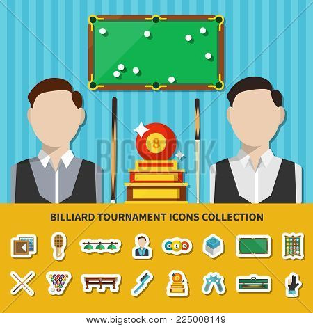 Billiard tournament icons collection with players, trophy, table with balls, game accessories, lighting isolated vector illustration