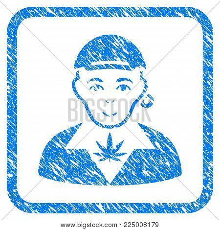 Marihuana Dealer rubber seal watermark. Icon vector symbol with grungy design and dust texture in rounded square. Scratched blue sign. Dude face has glad expression.