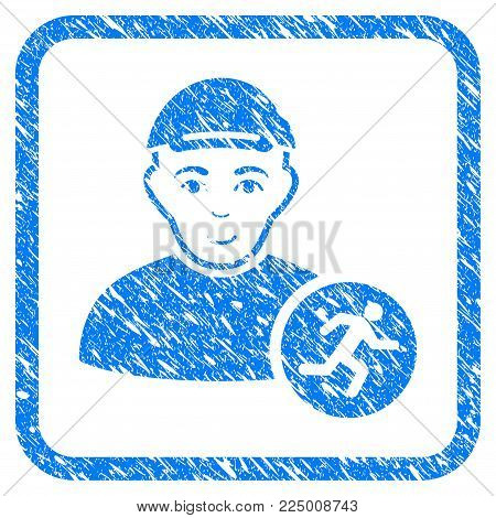Runner rubber stamp watermark. Icon vector symbol with distress design and dust texture in rounded frame. Scratched blue stamp imitation. Person face has joy expression. a dude from runner in a cap.