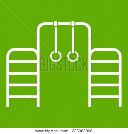Horizontal bar with climbing rings and ladder icon white isolated on green background. Vector illustration