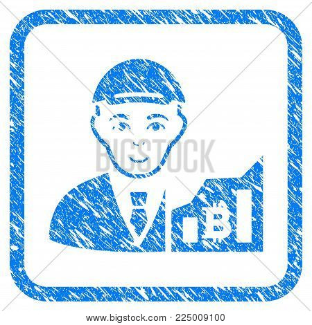 Bitcoin Trader rubber seal stamp imitation. Icon vector symbol with unclean design and corrosion texture inside rounded square frame. Scratched blue emblem. Guy face has joy expression.