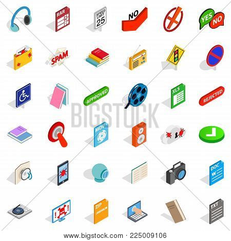 Data transmission icons set. Isometric set of 36 data transmission vector icons for web isolated on white background