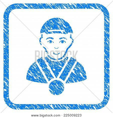 Champion rubber seal imitation. Icon vector symbol with unclean design and dirty texture in rounded frame. Scratched blue sticker. Human face has happy expression. a dude from champion with a cap.