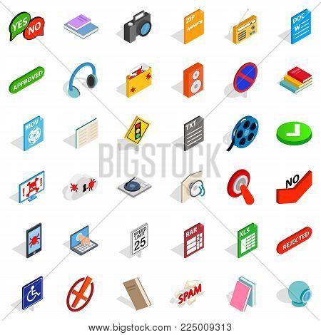 Information transfer icons set. Isometric set of 36 information transfer vector icons for web isolated on white background