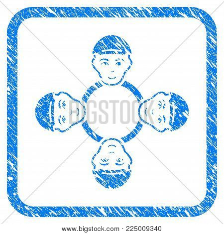 User Collaboration Network rubber seal watermark. Icon vector symbol with unclean design and dirty texture inside rounded squared frame. Scratched blue sign. Male face has enjoy sentiment.
