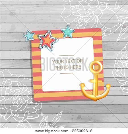 Decoration vector template frame. The photo frame you can use for kids picture or memories. Scrapbook design concept. Insert your picture.
