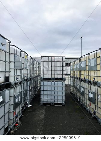 Many IBC Container on a storage site