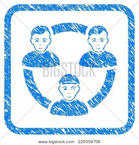 Persons Collaboration Network rubber stamp watermark. Icon vector symbol with scratched design and unclean texture inside rounded squared frame. Scratched blue emblem.