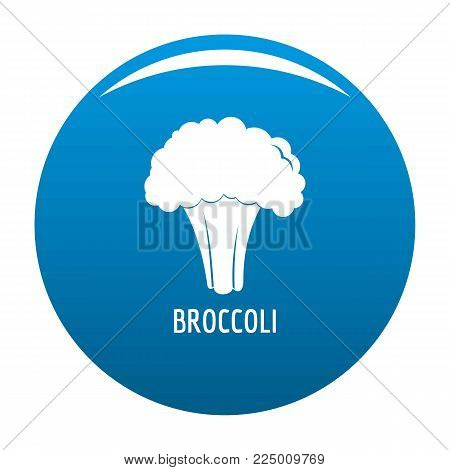 Broccoli icon vector blue circle isolated on white background
