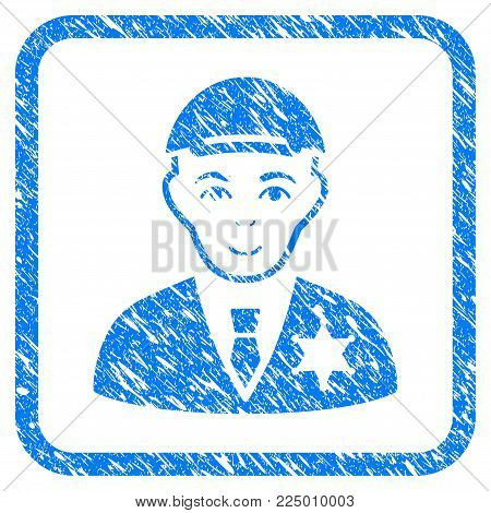 Police Sheriff rubber seal stamp watermark. Icon vector symbol with grunge design and dirty texture inside rounded frame. Scratched blue emblem. Human face has gladness sentiment.