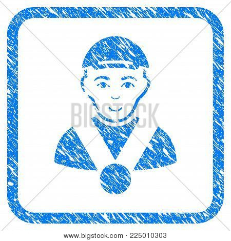 Champion rubber stamp imitation. Icon vector symbol with grungy design and dirty texture in rounded square. Scratched blue emblem. Dude face has happy emotion. a guy from champion dressed with a cap.