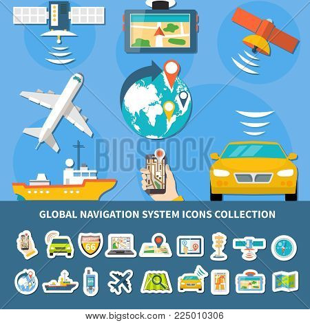 Collection of isolated global navigation system icons with composition of flat images of equipped vehicles and devices vector illustration