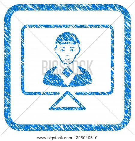 Video Connection rubber seal stamp watermark. Icon vector symbol with scratched design and dust texture inside rounded square. Scratched blue emblem. Man face has gladness feeling.