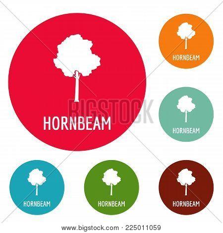 Hornbeam tree icons circle set vector isolated on white background