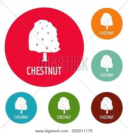Chestnut tree icons circle set vector isolated on white background