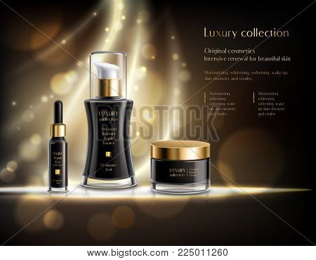 Luxury cosmetics realistic advertisement poster with black lotion dispenser cream jar golden bubbles dark background vector illustration