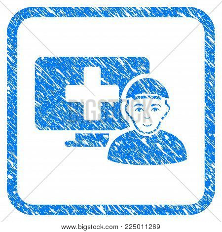 Online Patient rubber seal stamp watermark. Icon vector symbol with scratched design and unclean texture inside rounded square. Scratched blue sign. Guy face has enjoy sentiment.