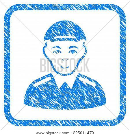 Soldier rubber seal watermark. Icon vector symbol with distress design and unclean texture in rounded rectangle. Scratched blue sign. Person face has cheerful feeling. a dude from soldier with a cap.