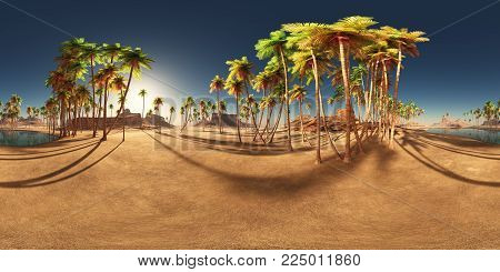 Computer generated 3D illustration with a spherical 360 degrees seamless panorama of a desert oasis and palms