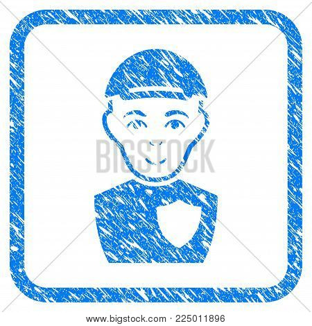 Sheriff rubber seal stamp imitation. Icon vector symbol with scratched design and unclean texture inside rounded square. Scratched blue sign. Boy face has glad emotions.
