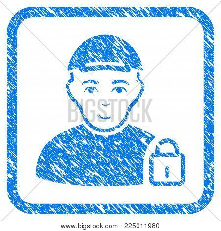 Locked User rubber seal imitation. Icon vector symbol with scratched design and dust texture in rounded square. Scratched blue sign. Dude face has joy feeling. a dude from locked user in a cap.