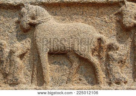 Stone Bas-reliefs On The Walls Around The Vittala Temple In Hampi, Karnataka, India.