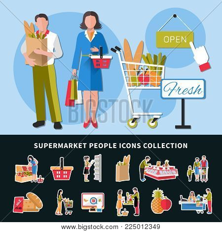Supermarket people icons collection with seller and customers, goods on counters, cash desk, discounts isolated vector illustration
