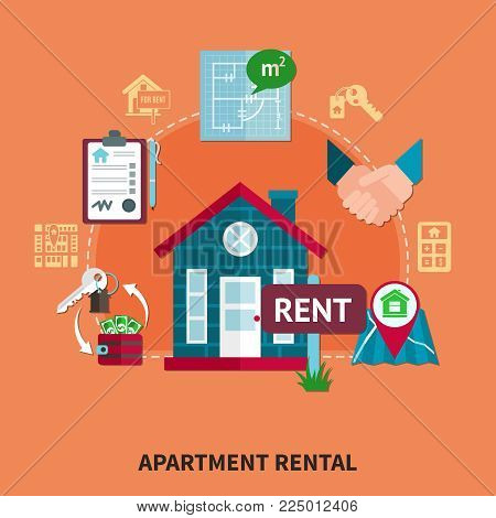 Real estate colored composition with apartment rental description orange background and isolated elements of architecture vector illustration