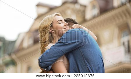 Woman and man embracing tenderly, sweet relationship of couple in love, date, stock video