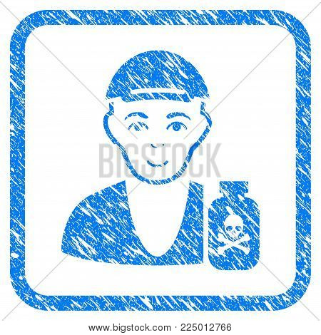Toxic Dealer rubber seal imitation. Icon vector symbol with grungy design and dirty texture in rounded rectangle. Scratched blue emblem. Male face has enjoy emotion.