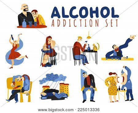 Alcohol addiction icons set with harm symbols flat isolated vector illustration